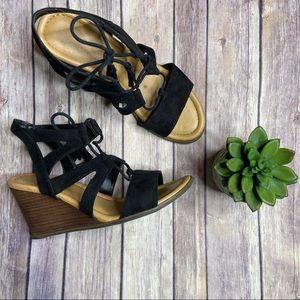 Dr. Scholl's Black Celeste Wedge Sandal Sz 9M